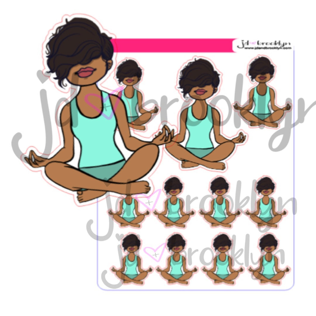 Bella Meditating Sticker Sheet or Die Cuts
