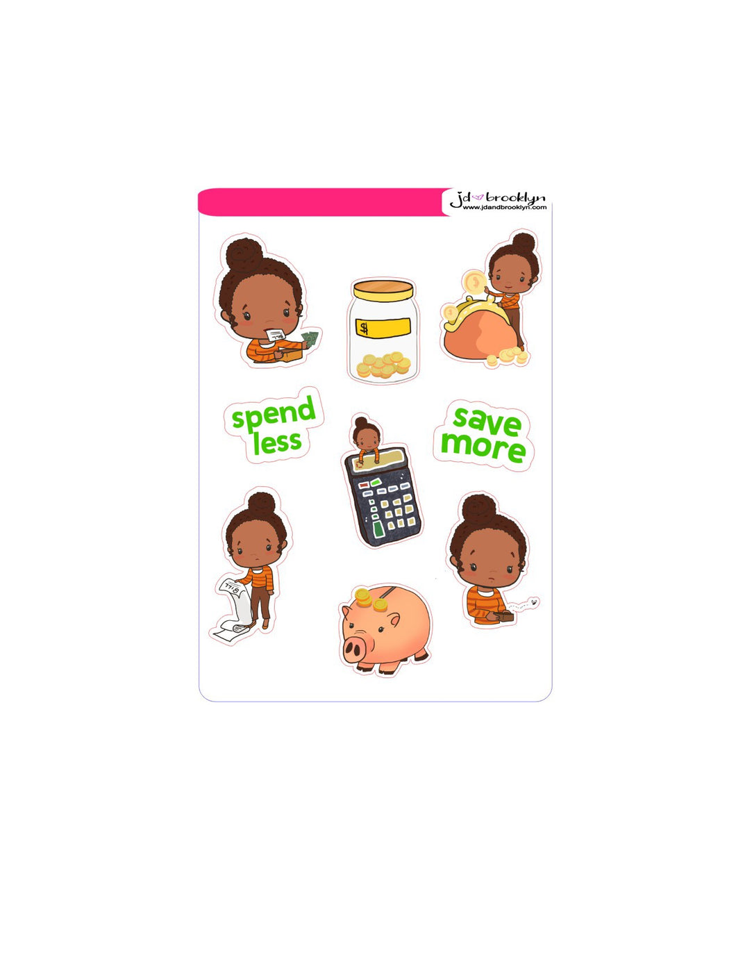 Budget themed sticker sheet dolls and graphics
