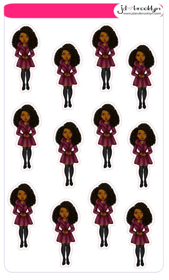 Natural Hair Doll-Burgandy Dress