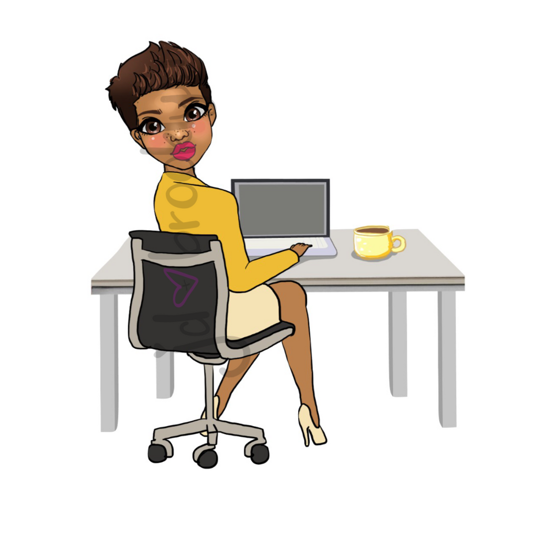 DIGITAL ITEM:  Short hair doll sitting at desk