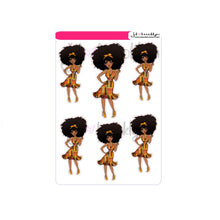 Kwanzaa doll with short dress sticker sheet or die cuts