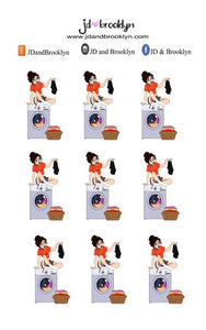 Laundry Day(sitting on machine)  Doll Sticker Sheet or die cuts