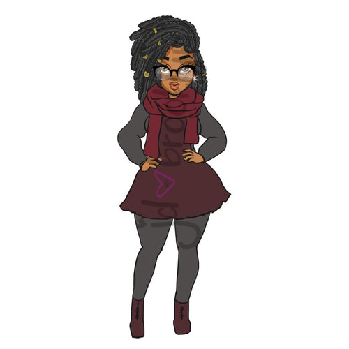DIGITAL ITEM:  Curvy girl with locs hairstyle fall outfit