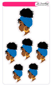 Girl with blue head wrap sticker sheet or die cuts