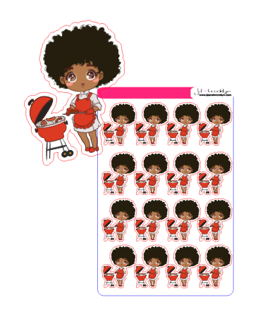 Doll cooking on the grill chibi style sticker sheet