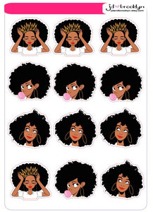 Sampler of girl with Afro hairstyle Sticker sheet or die cuts