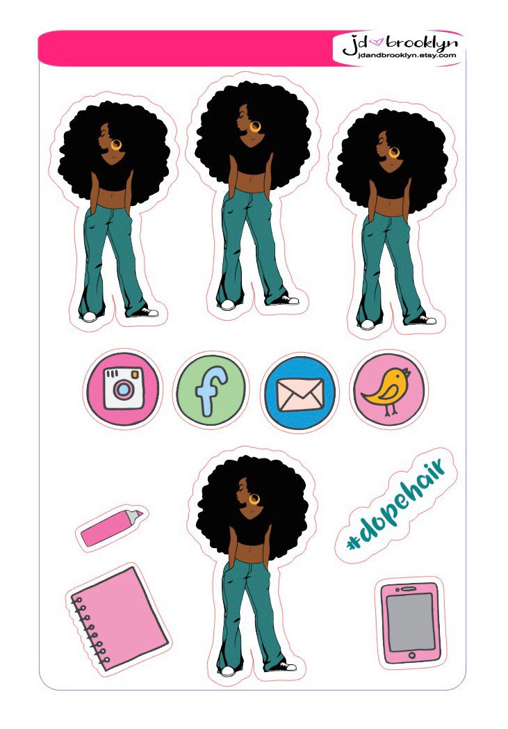 Long hair don't care! sticker sheet or die cuts