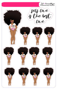 Big Hair Self love is the best love CURVY girl sticker sheet or die cuts