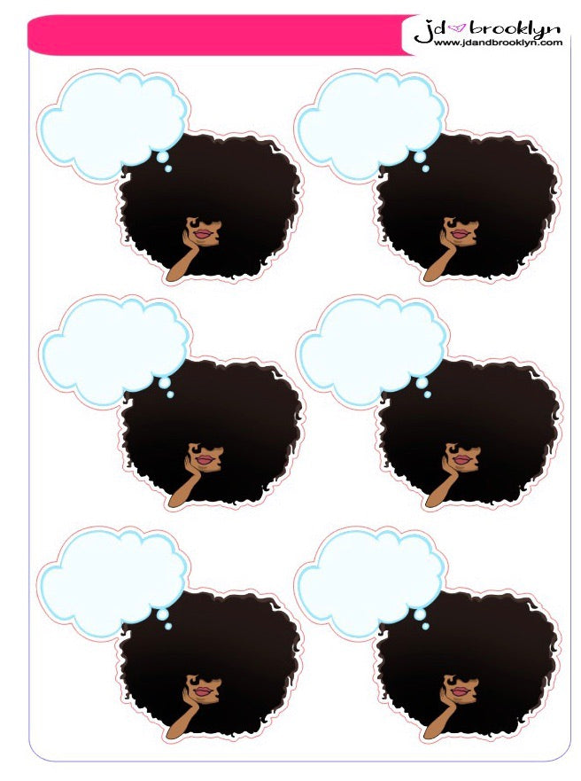 Big Hair with blank thought bubble. Sticker sheet or die cut
