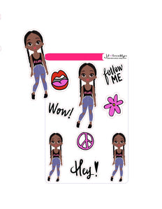 Braids doll (doll + graphics)Sticker Sheet or die cuts