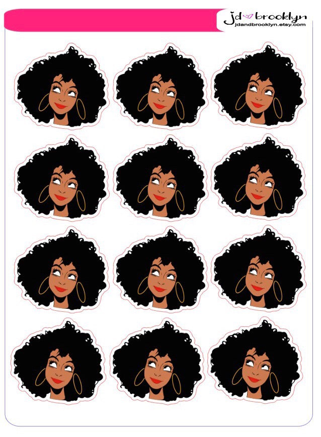 Thinking girl with Afro hairstyle Sticker sheet or die cuts