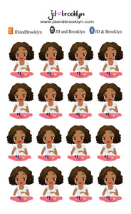 Manicure chibi Doll Sticker Sheet