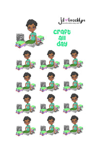 Craft all day Doll Sticker Sheet or die cuts