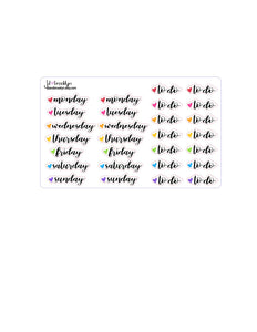 Functional: days of the week/to do with hearts sticker sheets