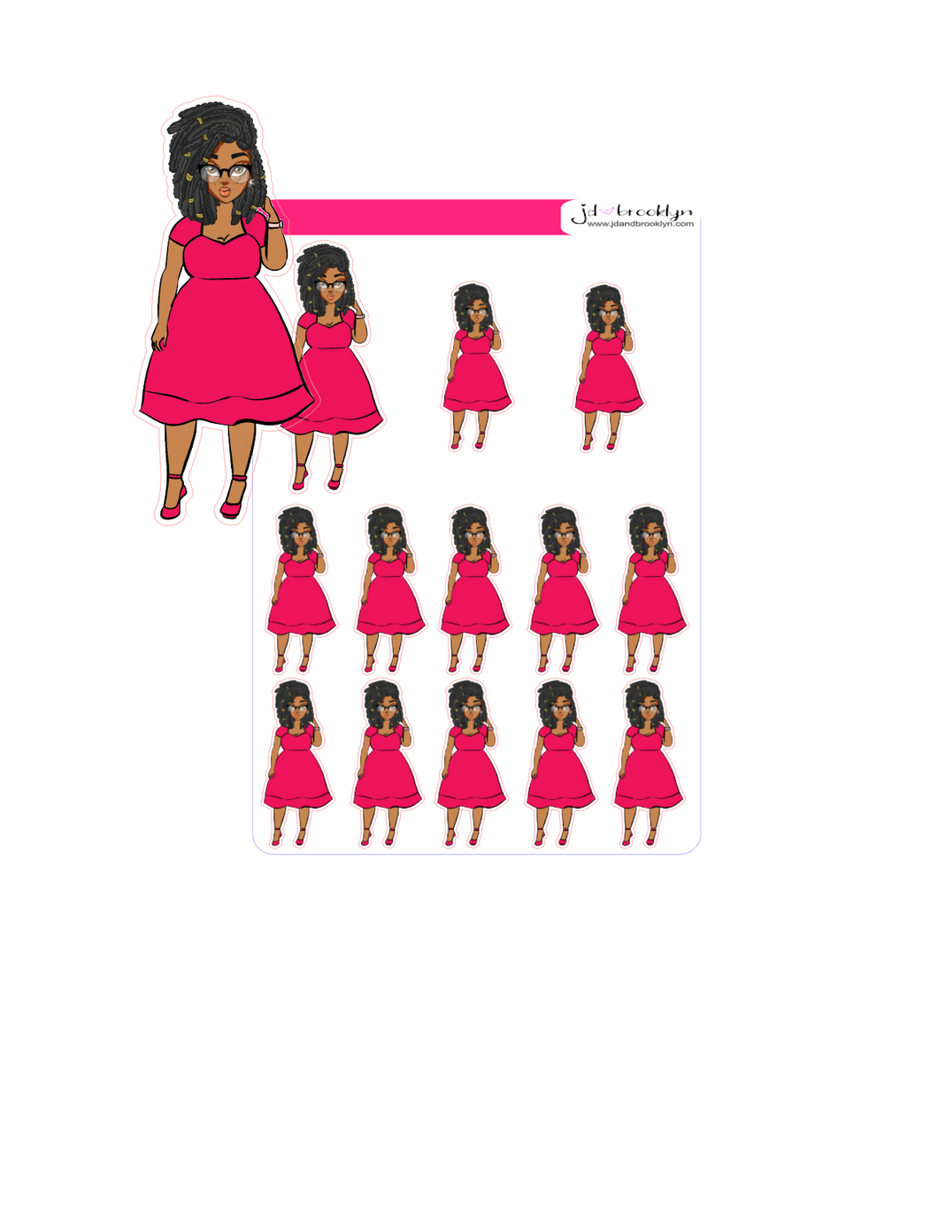 Curvy Stylish fall doll with locs hairstyle-pink dress