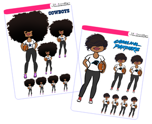 Big Hair or Bella Football sticker sheet or die cuts