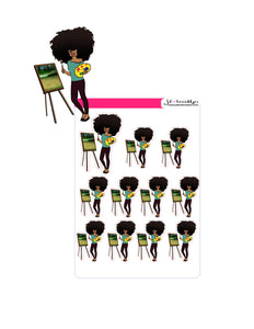Big Hair Doll Series 2: Artist or Painter Doll Sticker sheet or die cuts