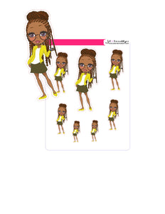 Planner girl with locs holding phone doll sticker sheet or die cuts