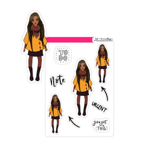 Straight hair hairstyle doll - Fall/Winter Fashion Sticker sheet or die cuts