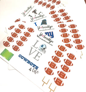 NFL Team Football Sticker Sheet