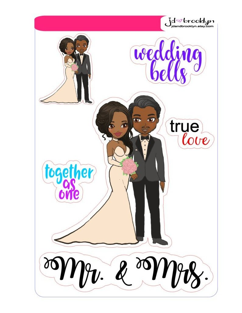 Girl & Guy getting married Sticker sheet or die cuts