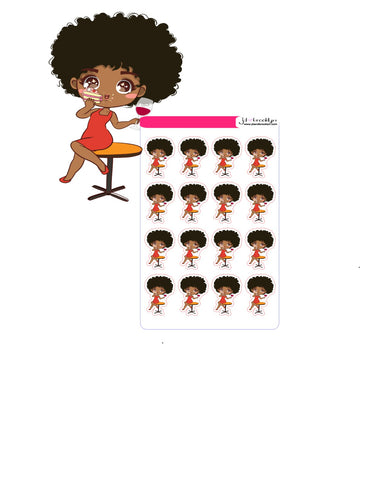 Doll drinking wine & eating cake chibi style sticker sheet