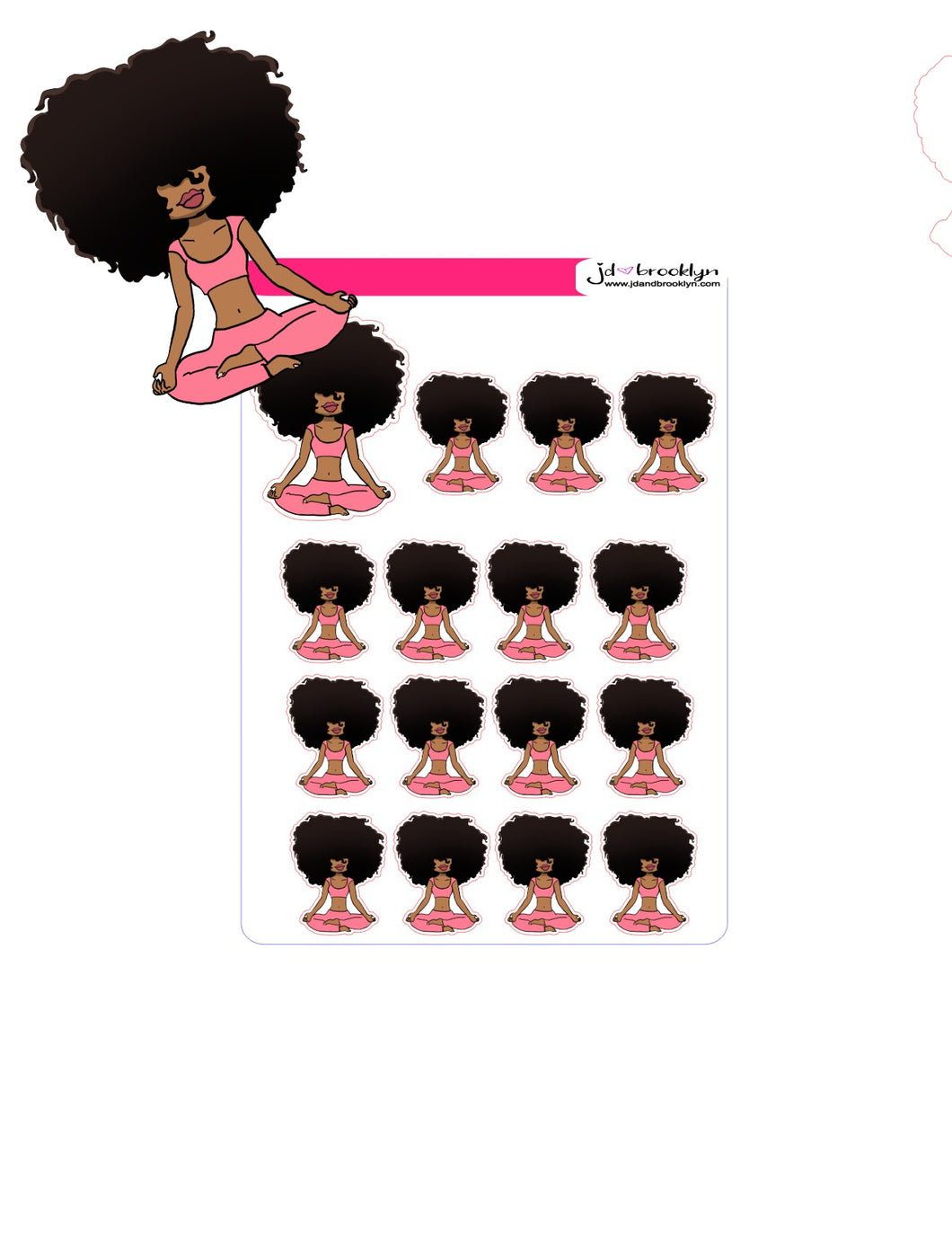 Big Hair Doll Series 2: Yoga/Meditating Doll Sticker sheet or die cuts