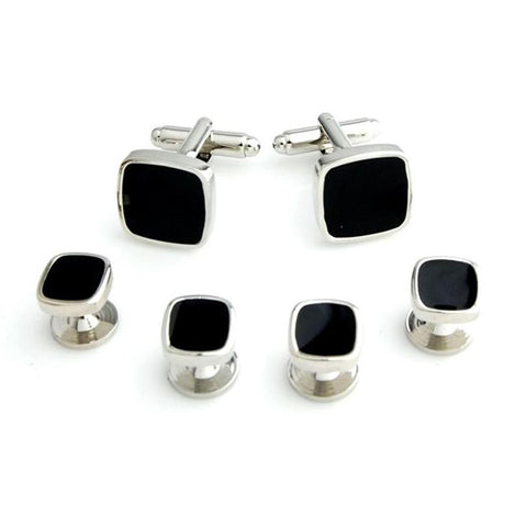 Classic Onyx Stone Studded - Cufflinks and Shirt Studs Set Brass, Onyx, Cultured Onyx Stone