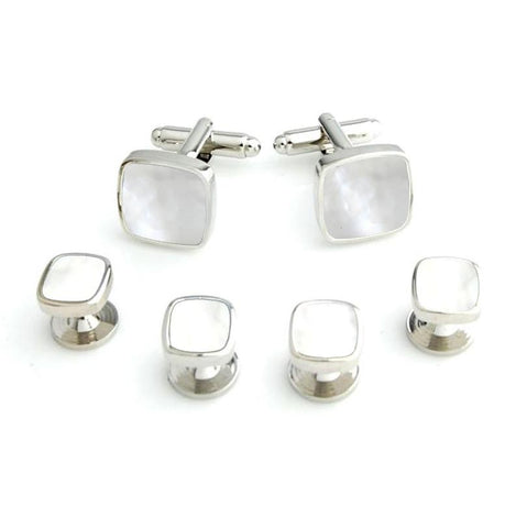 Mother of Pearls Studded - Cufflinks and Shirt Studs Set