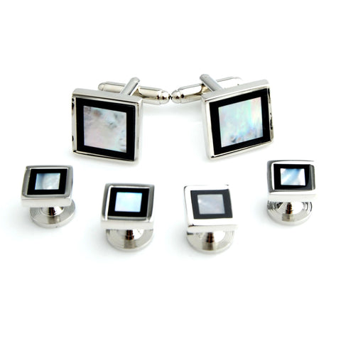 Mother of Pearl and Onyx Studded - Cufflinks and Shirt Studs