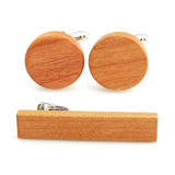 Smooth Beige - Cherry Wood Cufflink and TiePin Set