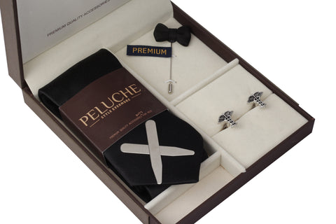 Charming Caduceus Gift Box Includes 1 Neck Tie, 1 Brooch, 1 Pair of Cufflinks and 1 Pair of Collar Stays for Men | Genuine Branded Product from Peluche.in