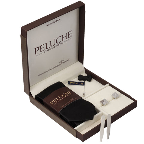 Nifty Gift Box Includes 1 Neck Tie, 1 Brooch, 1 Pair of Cufflinks and 1 Pair of Collar Stays for Men | Genuine Branded Product from Peluche.in