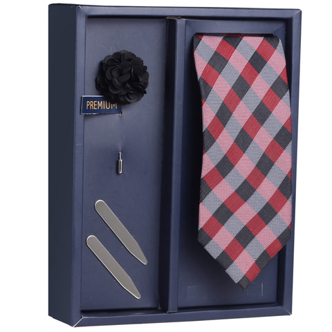 The Checkered Play Gift Box Includes 1 Neck Tie, 1 Brooch & 1 Pair of Collar Stays for Men | Genuine Branded Product from Peluche.in