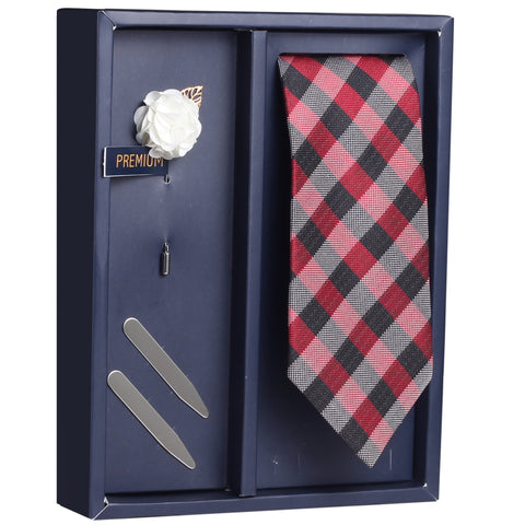 The Red Attack Gift Box Includes 1 Neck Tie, 1 Brooch & 1 Pair of Collar Stays for Men | Genuine Branded Product from Peluche.in