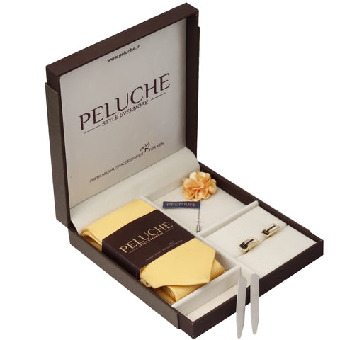 Modish Gift Box Includes 1 Neck Tie, 1 Brooch, 1 Pair of Cufflinks and 1 Pair of Collar Stays for Men | Genuine Branded Product from Peluche.in