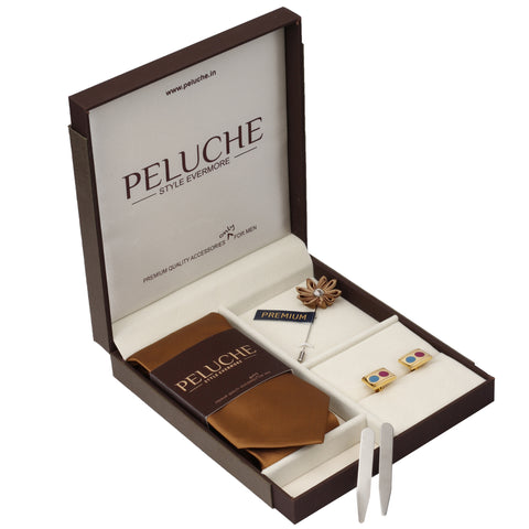 Sleek Gift Box Includes 1 Neck Tie, 1 Brooch, 1 Pair of Cufflinks and 1 Pair of Collar Stays for Men | Genuine Branded Product from Peluche.in