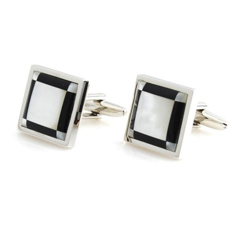 Peluche King's Stone - Mother of Pearl Cufflinks Brass, Semi Precious, Stone Studded, Natural Certified Stone, White Mother of Pearl (MOP), Black Onyx Stone