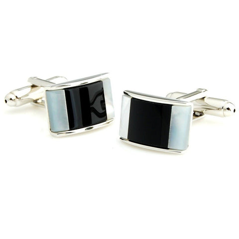 Peluche Irresistible Mother of Pearl Cufflinks Brass, Semi Precious, Stone Studded, Natural Certified Stone, White Mother of Pearl (MOP), Black Onyx Stone