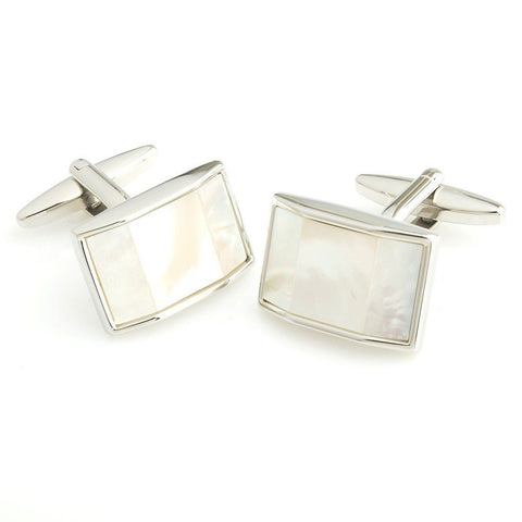 Peluche Trapezium - Mother of Pearl Cufflinks Brass, Semi Precious, Stone Studded, Natural Certified Stone, White Mother of Pearl (MOP)