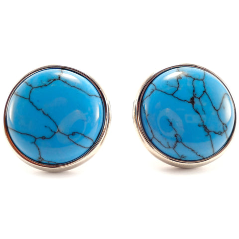 Peluche Turquoise Button - Cufflinks Brass, Stone Studded, Culture Stone, Turquoise Stone