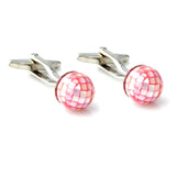 Peluche Attention Seeker - Pink Mother of Pearl Cufflinks Brass, Semi Precious, Stone Studded, Natural Certified Stone, White Mother of Pearl (MOP)