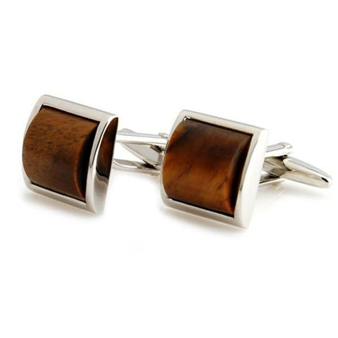 Peluche Tiger's Eye - Cufflinks Brass, Semi Precious, Stone Studded, Natural Certified Stone, Tiger's Eye Stone