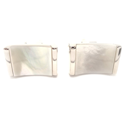 Peluche Concave Mother of Pearl Cufflinks Brass, Semi Precious, Stone Studded, Natural Certified Stone, White Mother of Pearl (MOP)