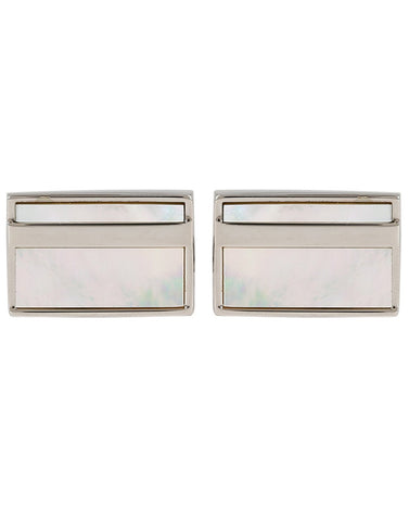 Peluche Hi -flier - Mother of Pearl Cufflinks Brass, Semi Precious, Stone Studded, Natural Certified Stone, White Mother of Pearl (MOP)