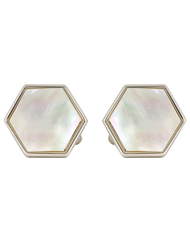 Peluche Hexagonal - Mother of Pearl Cufflinks Brass, Semi Precious, Stone Studded, Natural Certified Stone, White Mother of Pearl (MOP)