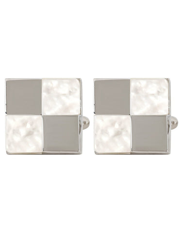 Peluche Checks - Mother of Pearl Cufflinks Brass, Semi Precious, Stone Studded, Natural Certified Stone, White Mother of Pearl (MOP)