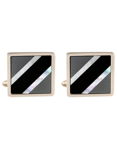 Peluche The Upper Crust - Mother of Pearl Cufflinks Brass, Semi Precious, Stone Studded, Natural Certified Stone, White Mother of Pearl (MOP), Black Onyx Stone, Haematite Stone