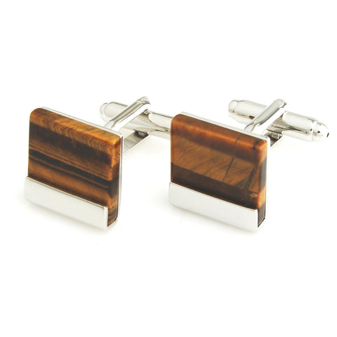 Peluche Cuadrado - Tiger's Eye - Cufflinks Brass, Semi Precious, Stone Studded, Natural Certified Stone, Tiger's Eye Stone