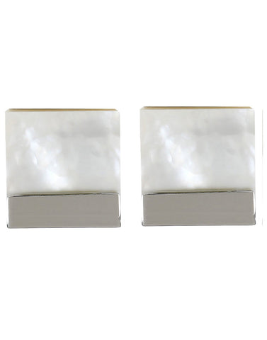 Peluche Cuadrado - Mother of Pearl Cufflinks Brass, Semi Precious, Stone Studded, Natural Certified Stone, White Mother of Pearl (MOP)